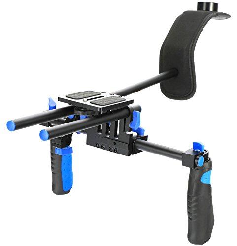 MARSRE DSLR Shoulder Rig Film Making System Camera Shoulder Mount With Camera/Camcorder Mount Slider For All DSLR Video Cameras and DV Camcorders (Best Camcorder For Filmmaking)