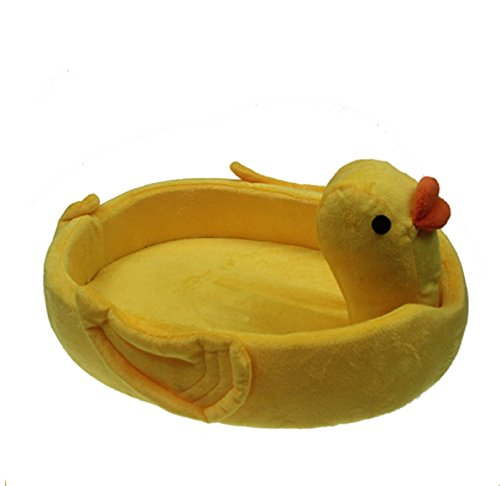 Funny Yellow Duck Small Pet Dog Cat Bed House For Chihuahua Kennels Animals Shape Fleece Dog Puppy Bed Nest Dog Cushion Mat (M:46389cm/18.0814.933.53