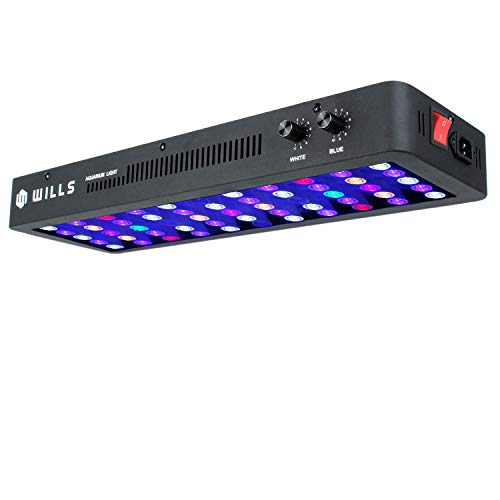 WILLS Newest Long 165W LED Aquarium Light Full Spectrum Dimmable Lighting Lamp for Coral Reef Fish Tank Freshwater & Saltwater