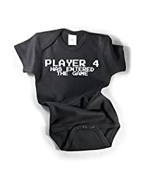 Player 4 Has Entered The Game Awesome Funny Baby Bodysuit One Piece Black/White