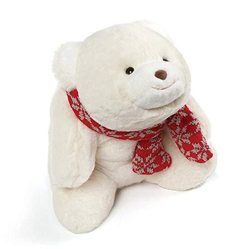 (GUND Snuffles with Knit Scarf Christmas Stuffed Plush Teddy Bear, White, 10