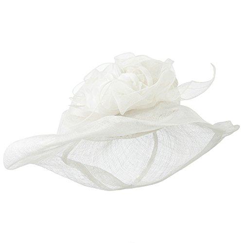 bea6718ba8952 Jeanne Simmons Crownless Folded Brim Sinamay Hat - White OSFM