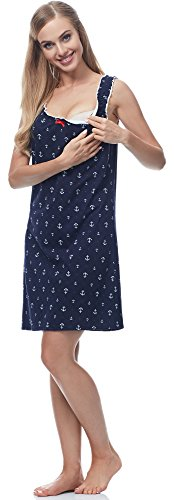 Italian Fashion IF Lactancia Camisón para Mujer Ali 0112 Navy