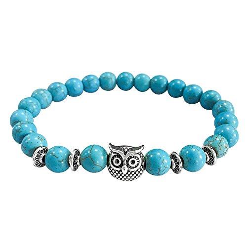 Fheaven 2018 Women Men New Volcanic Bracelet Owl Bracelet Silver Beads Bracelet Lava Stone Bead Bracelets (Blue) -