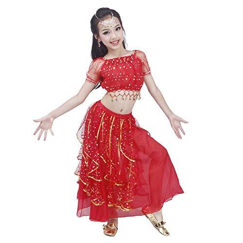 Maylong Girls Princess Dress up Belly Dance Skirt Halloween Costume DW52 (Large, red) -