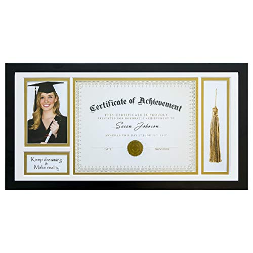 (The Display Guys 10x20 Document/Certificate Shadow Box Frame for Diploma Tassel, Solid Pine Wood & Real Tempered Glass w. Double Gold & White)
