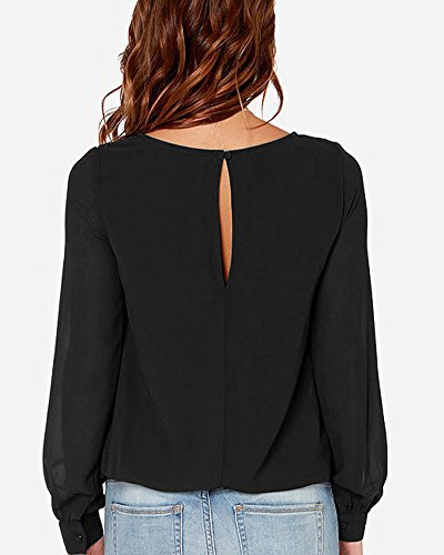 Manches Tops Shirts Longues Sweatshirts Noir Femme T Chemisiers Blouses PengGeng n8EWgE