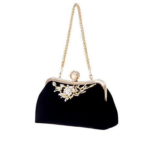 Shoulder Black Wedding Evening Velvet Rhinestone Clutch Party MSFS Dress Lady Handbag wv8g1