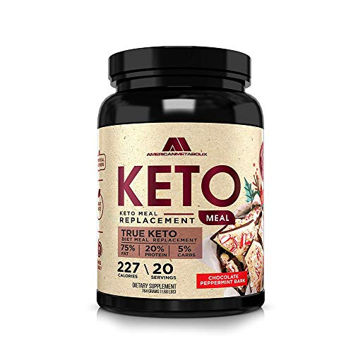 Keto Meal Replacement, 20 Servings, 227 Calories, 75% F,20% p, 5% c (20 Servings) (Chocolate Peppermint Bark)