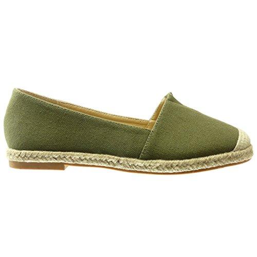 Cuerda Bordado Angkorly Alpargatas Verde Tacón Cm Zapatillas Moda Mocasines Plano Slip Mujer on 0 aqwp8q0xC