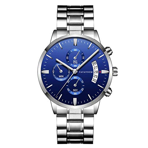 - LUCAMORE Men's Military Quartz Analog Watch Stainless-Steel Strap Waterproof Chronograph & Date Display Business Wristwatches