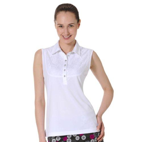 (Monterey Club Ladies' Dry Swing Tonal Lace Lightweight Pique Shirt #2275 (White, Small))