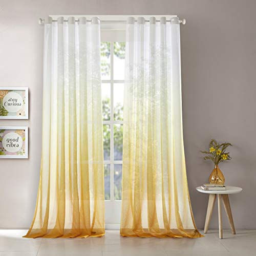 LoyoLady Gradient Ombre Printing Amber Grommet Top Voile Sheer Curtains Decorative Window Screening, 52