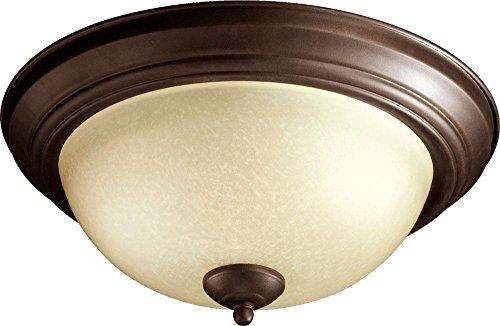 (Two Light Oiled Bronze Amber Scavo Glass Bowl Flush)