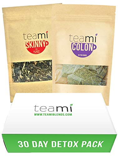 TEAMI 30-Day Detox Tea Pack: Teatox Kit with Skinny Loose Leaf Herbal Tea for Weight Loss and Colon Cleanse Tea Bags to Increase Energy
