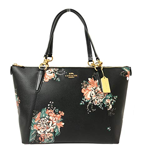 COACH AVA TOTE WITH TOSSED BOUQUET PRINT BLACK MULTI