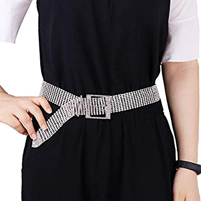 CHICTRY Bling Crystal Rhinestone Belt Fashion Wide Alloy Adjustable Woman Waistband Chain Decoration Buckle Waist Belt Harness for Wedding Prom Evening Party