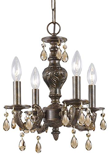 Crystorama 5024-VB-GTS Crystal Accents Four Light Mini Chandelier from Paris Market collection in -