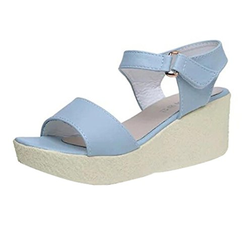 Transer Ladies Leisure Wedges Sandals- Women High Heel Platform Sandals Summer Comfor Shoes Blue