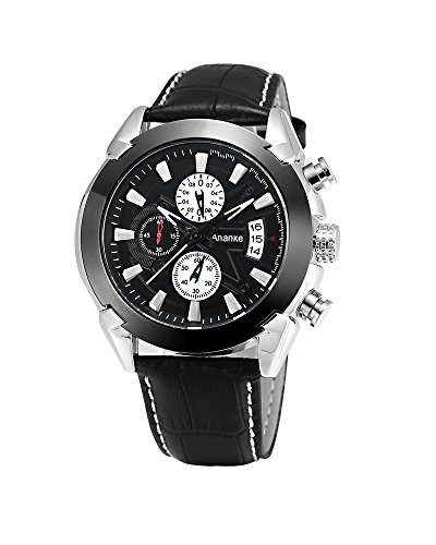Active Chronograph Mens Watch (Ananke Men's Black Leather Waterproof Dressy Quartz Wrist Watch With Chronograph Date Analog Dial)