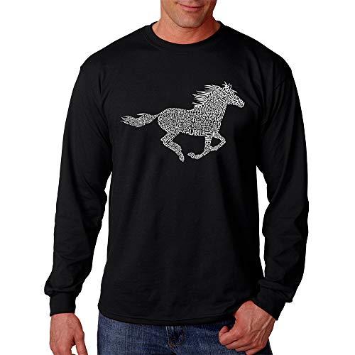 LA POP ART Men's Word Art Long Sleeve T-Shirt - Horse Breeds Black