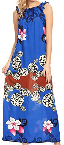 - Sakkas 18209 - Abby Womens Casual Long Tropical Off Shoulder Dress Elastic & Floral Print - Royal Blue - M