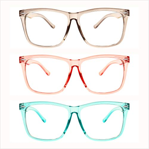 5zero1 Fake Big Frame Clear Non Prescription Glasses For Women Men Fashion Classic Retro Costumes Party Halloween, Light Pink/Gray/Teal