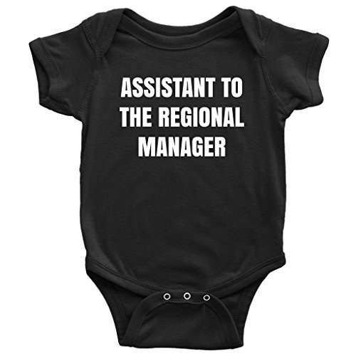 Teehub Assistant to The Regional Manager Onesie Baby Bodysuit (6M, Black)
