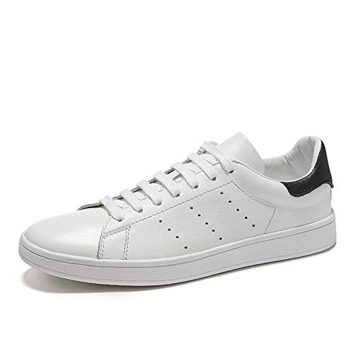 (Hilotu Fashion Sneaker for Men Simple Style Casual Sports Shoes Hollow Breathable Pure Color Comfortable Shoes (Color : White, Size : 8.5 M US))