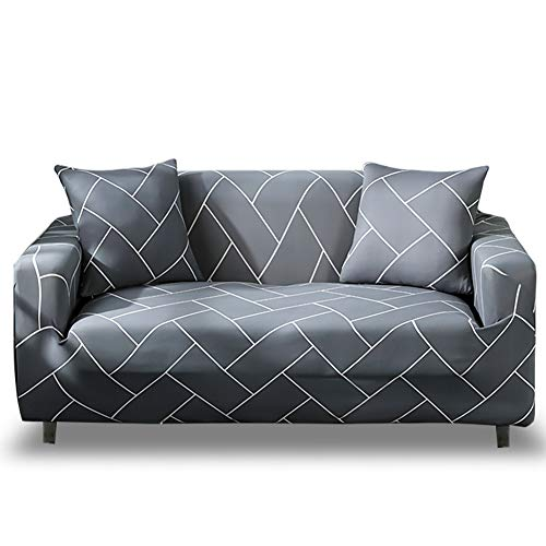 HOTNIU 1-Piece Fit Stretch Sofa Covers - Polyester Spandex Printed Sofa Slipcovers - Furniture Cover/Protector for 4 Seat Couch with Elastic Bottom & Anti-Slip Foam (Big Sofa, Pattern #QHXT) (Sofa Slipcovers Flexsteel)