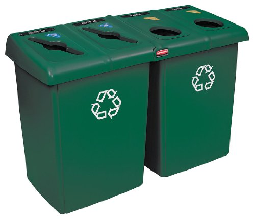 Rubbermaid 1792373 Glutton Recycling Station, Four-Stream, 92 gal, -