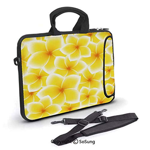 17 inch Laptop Case,Plumeria Frangipani Asian Cute Flower Blossom Pattern Hawaiian Artwork Neoprene Laptop Shoulder Bag Sleeve Case with Handle and Carrying & External Side Pocket,for Netbook/MacBook (Cute Asian Shoulder Bags)