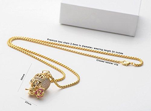 Karseer Faithful Love & Rose Skull Pendant Necklace with Crystal Brain Hidden Inside, Infinite Fantasy Gift for Men and Women (Gold) by Karseer (Image #5)