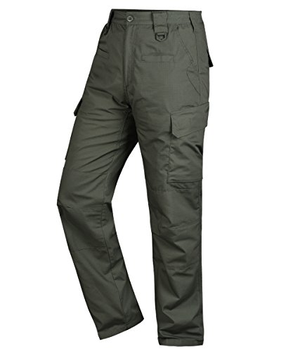 HARD LAND Men's Waterproof Tactical Pants Ripstop Work Cargo Pants With Elastic Waistband For Hunting Fishing Hiking Size 30×30 OD Green (Heavy Duty Work Pants)