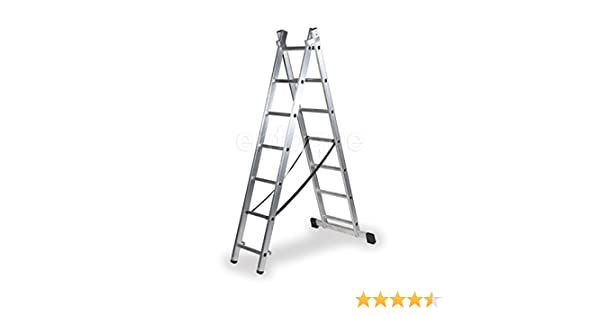 ALTIPESA Escalera Profesional de Aluminio transformable Apoyo-Tijera con Base un Acceso 2 x 7 peldaños Serie bis: Amazon.es: Hogar