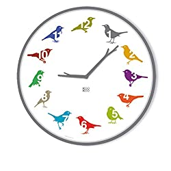 KOOKOO UltraFlat Color, The Singing birdclock Includes 12 Genuine Original Field Recordings from Native Songbirds, Striking dial, Wall Clock with Light Sensor