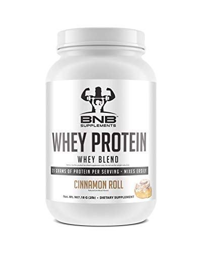 BNB 100 Whey Protein – Cinnamon Roll Flavor – 21g of Protein per Serving – 2lb Tub – Mixes Easily – Delicious Protein Recovery Shake – by BNB Supplements