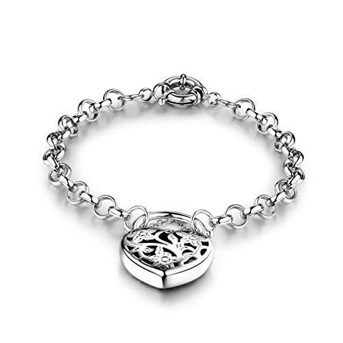 GULICX Silver -Color Jewelry Flower Lock Flower Lock Hollow Heart Chain Charm Bracelet for Women Girl