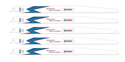 12' Reciprocating Blade - EZARC Reciprocating Saw Blade 12-Inch 10/14TPI Multi-purpose R1225DG(5-Pack)
