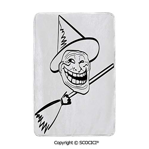 SCOCICI Ultra Comfortable,Cozy and Warm Carpet Blanket Halloween Spirit Themed Witch Guy Meme LOL Joy Spooky Avatar Artful Image No Colour Fading Rug One Side Printed