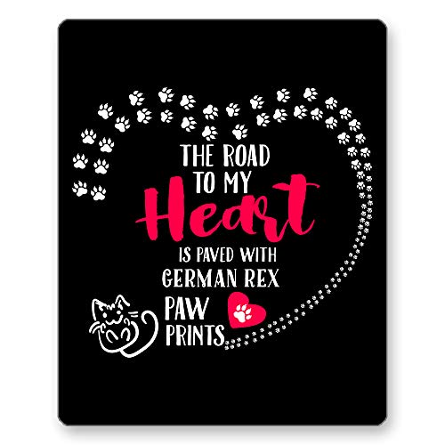 (Home Of Merch The Road to My Heart is Paved with German Rex Paw Prints Perfect Kitty Cat Kitten Owner Lover Lady Mom Dad Gifts Black Mousepad by HOM |)