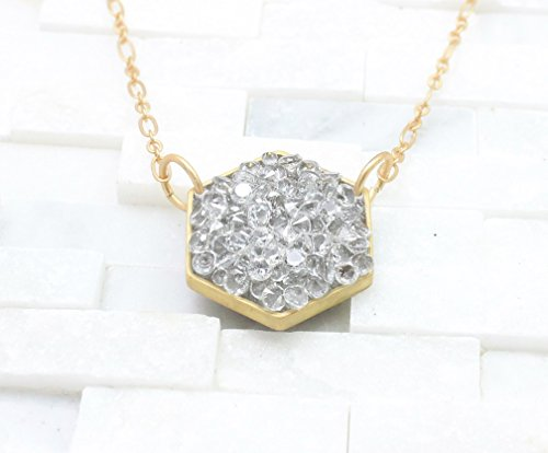 Grey crystal Hexagon geometric gold Necklace