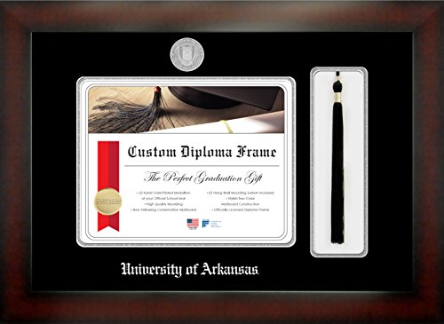 (Celebration Frames University of Arkansas 8½ x 11 Mahogany Finish Infinity Diploma Frame with Tassel Box)