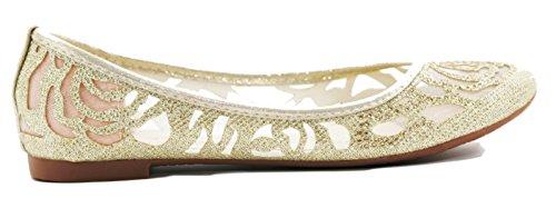 Bella Marie WOMEN Glitter and Mesh Detail Slip On Ballet Flats(GOLD,9)