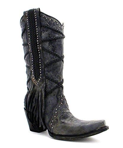 Innhegningen Womens Black-grå Pyntebånd Og Frynser Støvler A3146 Svart & Grå