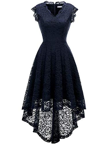 MODECRUSH Womens Ruffle Sleeve Bridesmaid Formal Hi Lo Floral Lace Cocktail Party Dresses V Neck M Navy