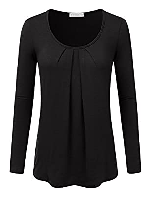 JJ Perfection Women's Pleated Scoop Neck Long Sleeve Trendy Top T-Shirt