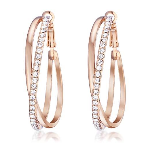 Swarovski Rose Gold Earrings - Gemini Ladies Jewerly Rose Gold Plated Big Round Hoop Swarovski Crystal Pierced EarringsGm032Rg, Size: 5cm Color: Rose Gold