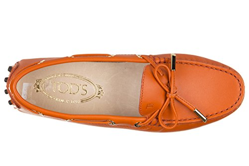 Tod's mocassins femme en cuir heaven new laccetto orangene