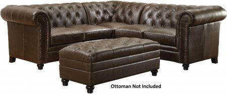 Coaster Roy 500268 120″ Sectional Sofa with Button-Tufted Back Pocket Coil Seating Decorative Nail Head Sinuous Spring Base and Leatherette Upholstery in Brown